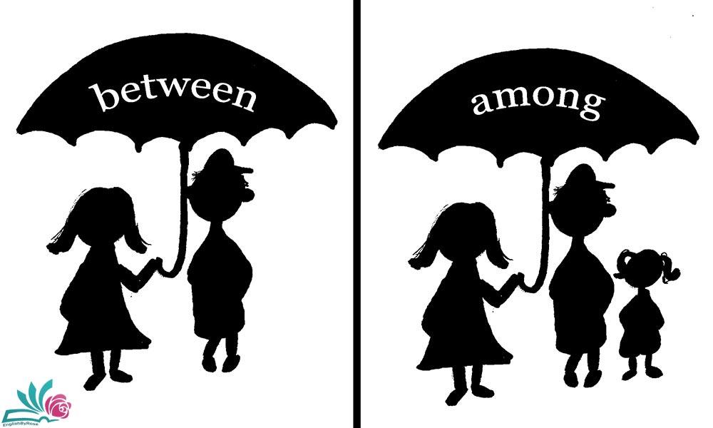 تفاوت among و between